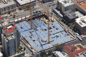 Construction on the CPMC Van Ness and Geary site in San Francisco, CA